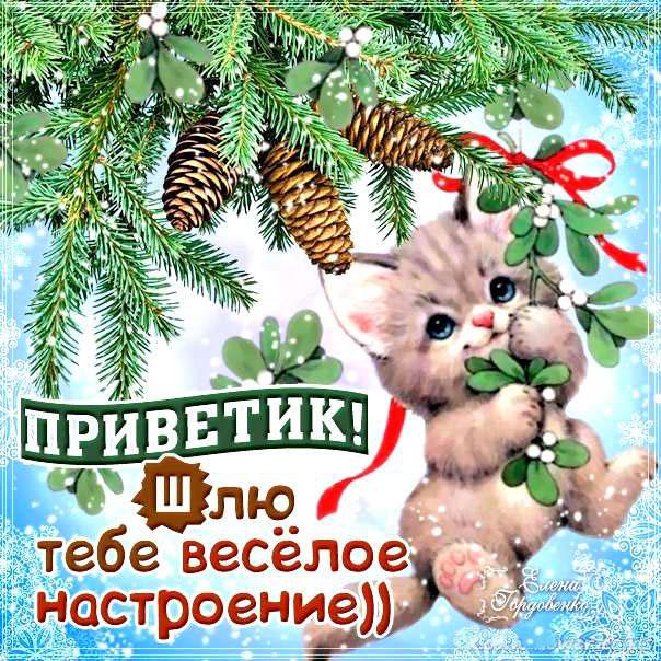 Зимняя открытка желаю веселого настроения