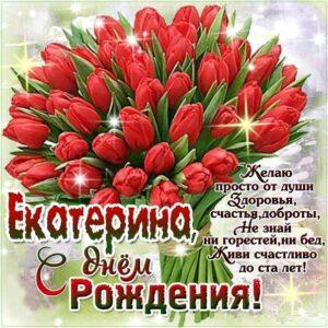 C днем рождения Екатерина букет тюльпаны