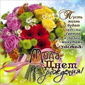 С Днем рождения Мила мигающая картинка. Букет, цветы, поздравить надпись, с фразами, есть стих, узоры, открытка, поздравительная, эффекты, Милочка.