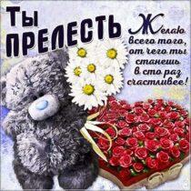 Картинка комплимент со словами. Комплимент девушке, комплимент подруге, комплимент женщине, плюшевый мишка, розы, с текстом.